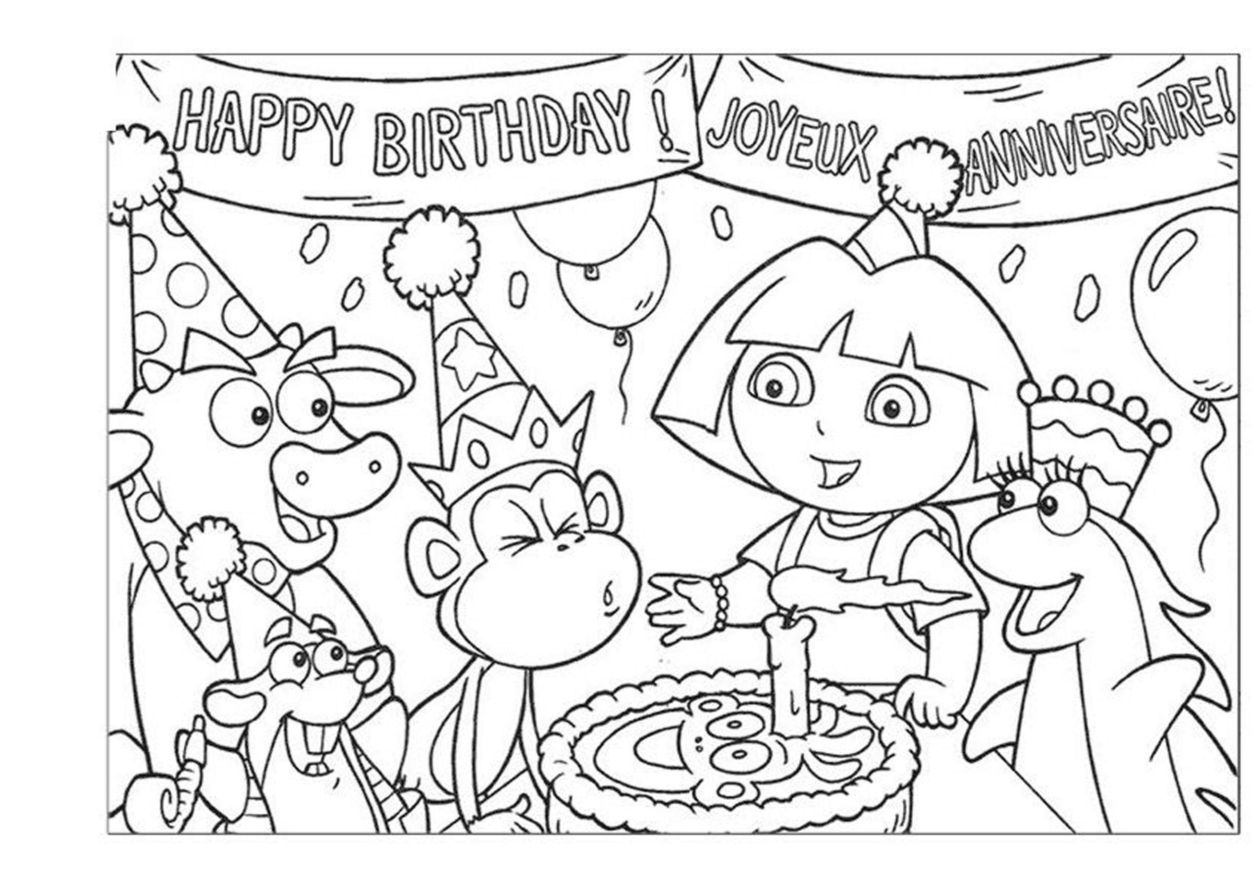Famoso Dora Cumpleaños Para Colorear Adorno - Dibujos Para Colorear ...