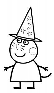 Candy gatto amica di peppa pig vestita da strega disegno da colorare gratis