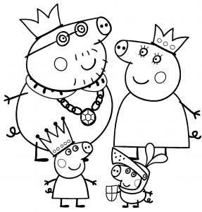 peppa-pig-e-la-sua-famiglia-vestiti-da-re-e-regina